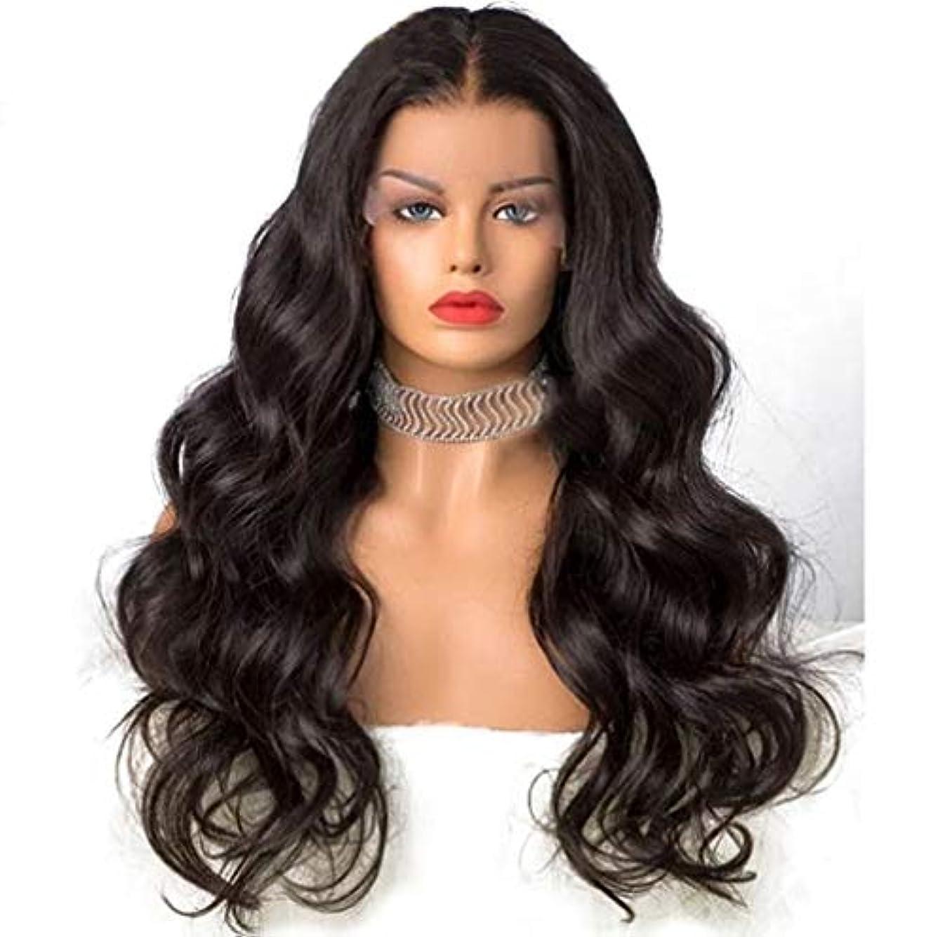 バンケット手書き嫌な女性かつら150%密度フロントレース耐熱合成長い巻き毛かつら人工毛側部かつら
