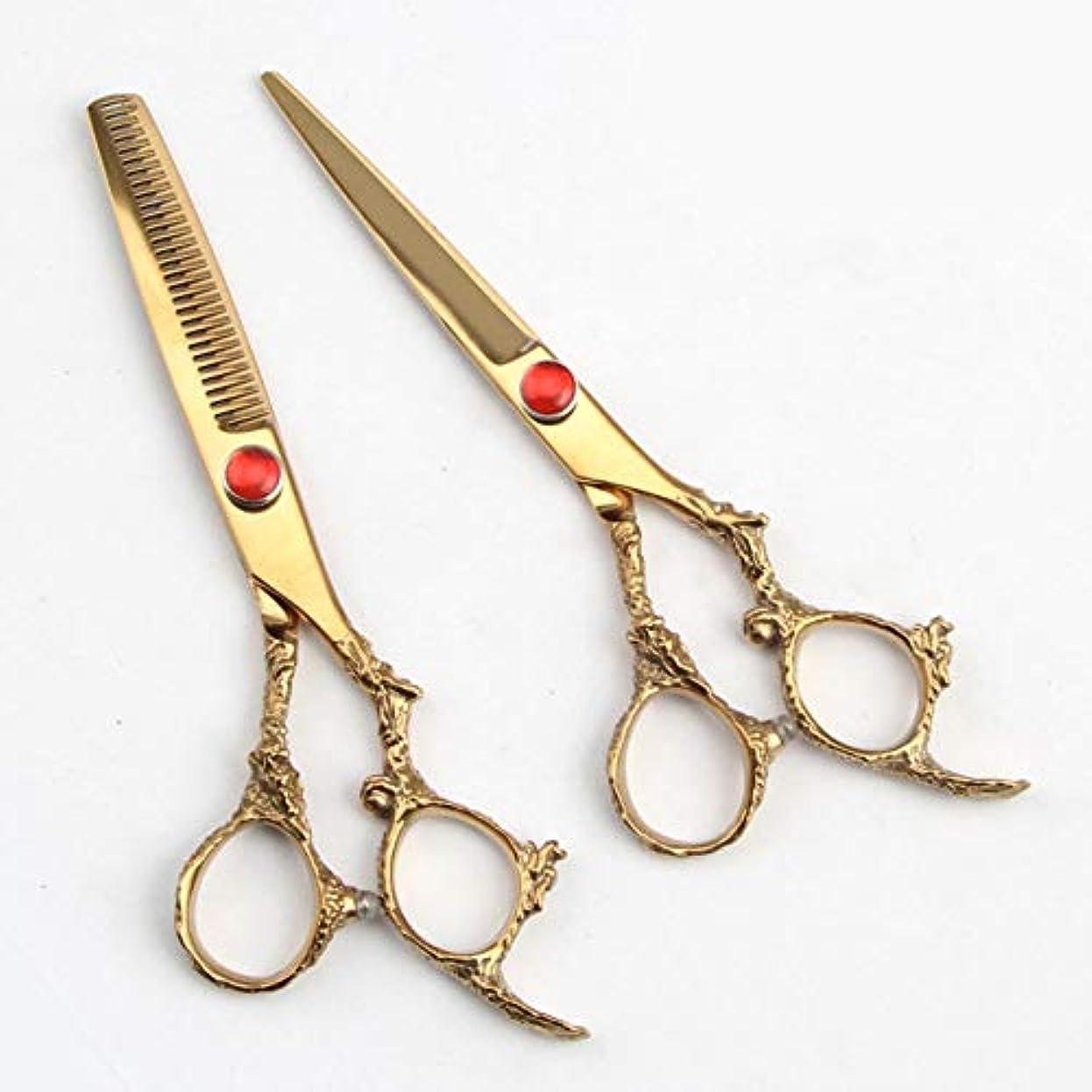 機知に富んだお香性交Jiaoran 理髪師ゴールデンプロのヘアカットセット、家庭用はさみセット (Color : Gold)