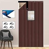 寒い証拠 暖かい コットンカーテン, 透明な窓の防音ドア カーテン 冬 再利用可能な,ウィンドシールドカーテン-ブラウン 80x230cm(31x91inch)