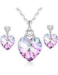 PLATO H Heart Pendant Necklace & Earrings Jewelry Set with Swarovski Crystals 3 Different Purple Crystal Jewelry Set Style
