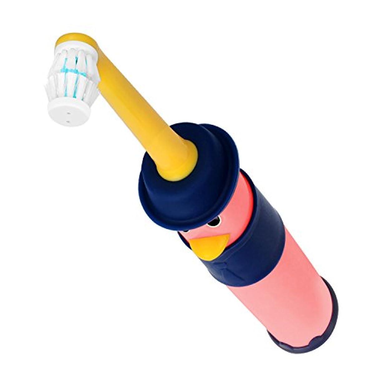 牛肉余計なファイアル電動歯ブラシ 子供用 YAFEELR かわいいキャラクター 360度右回り/左周り自由に回転で、自動切替対応 防水 国際特許所得 単3形アルカリ乾電池2個 ダブルメリットブラシです (3-6歳ピンク)