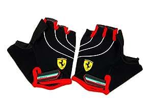 「Ferrari」FLK A56584--M  フェラーリ正規品 グローブ ハーフ 滑り止め・リストフラップ付き メッシュ仕様 自転車/トレーニング/運動対応 3サイズ M/L/XL (M)