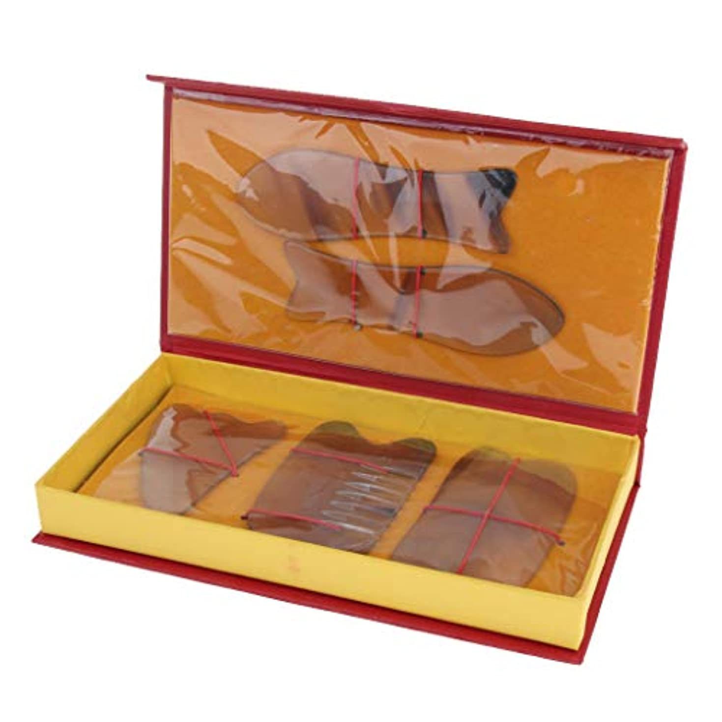 Baoblaze 5本 マッサージボード スクレーパー フェイス フルボディー 2色選べ - 黄