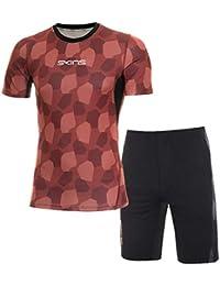 スキンズ(skins) スキンフィットS/Sシャツ&ハーフパンツ上下セット(エンジカモ/ブラック杢) KMMMJA81-ENCM-KMMMJE83-BKMK