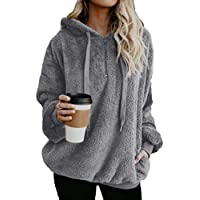 Sodossny-AU Womens Casual Jumper Fleece Tops Hoodies Loose Fit Pullover Sweatshirts