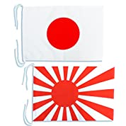Mサイズ 日本国旗と海軍旗(旭日旗)2枚セット・[ テトロン生地・ 34×50cm ]安心の日本製