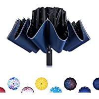 Newsight One-Touch Automatic Folding Umbrella - Dual Layers, Less UV Rays, Alloy Frame, 10 Fiberglass Ribs, Windproof, One-Touch Open & Close, Ergonomic Handle, Water Repellent, with Pouch