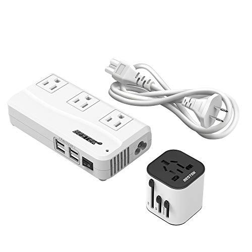 海外旅行用変圧器 マルチ変換プラグ付き 100V-240V to 100V 変換 USB 4ポート 250W 並行輸入品