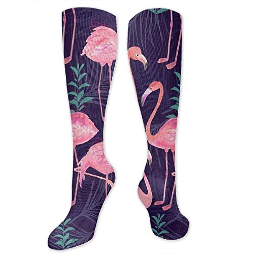 教授インゲン夜の動物園女性の男性のためのQrriy 3 Dかわいいフラミンゴ圧縮靴下スポーツランニングクロスフィットフライト旅行妊娠看護師(20?30 mmHg)