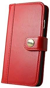 CIBOLA 高級牛革 iPhone6s iPhone6 ケース 手帳型 本革 【 磁気カードでも安心収納 】 マグネットなし 【 専用箱 保存袋 クロス付 】 アイフォン6s アイフォン6 カバー 財布型 レザー カードポケット スタンド機能 ボタン式 レトロレッド