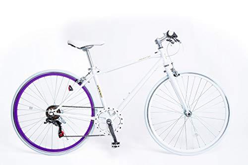 21TTechnology Crossbike[CL266] クロスバイク 6段変速 700×28C (ホワイトパープル)