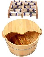 Fenteer 足つぼマッサージ 手作りウッドマッサー フット ローラー 足裏刺激 血行促進 木製の足の洗面台付き