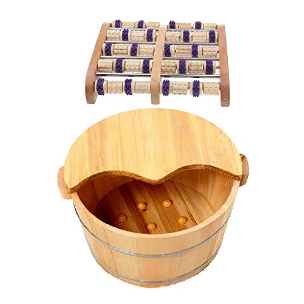 敏感な省略するデジタルFenteer 足つぼマッサージ 手作りウッドマッサー フット ローラー 足裏刺激 血行促進 木製の足の洗面台付き