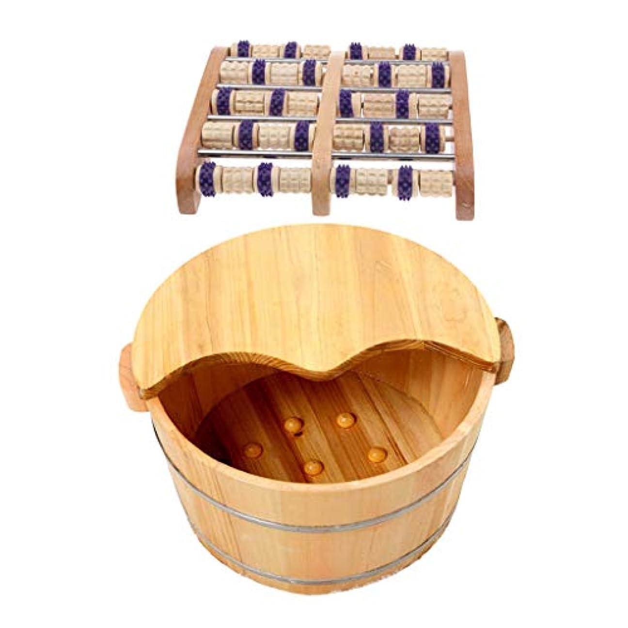クラックポット取り扱いビザFenteer 足つぼマッサージ 手作りウッドマッサー フット ローラー 足裏刺激 血行促進 木製の足の洗面台付き