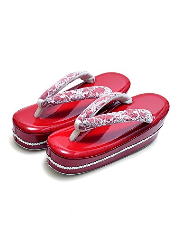 [ 京都きもの町 ] fussa 草履単品 赤色 レース カッティング紐花コサージュ 成人式 結婚式の振袖に 振袖草履 華やか草履