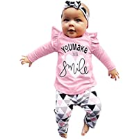 3Pcs Baby Girl Outfit Set Long Sleeve Letter You Make Me Smile Ruffle Tops Geometric Pants +Headband Clothes Sets