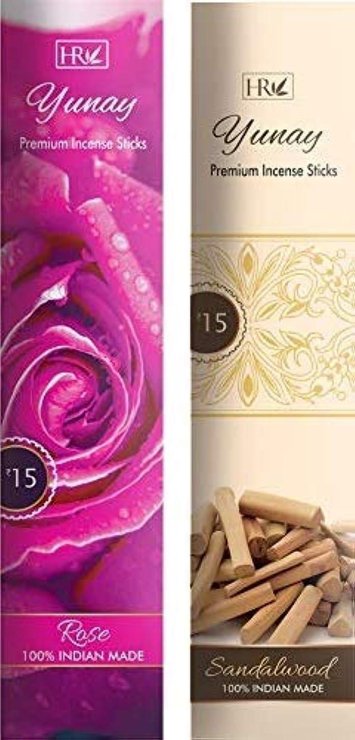 心から豊かにするメイトYunay Agarbatti Combo Pack of Rose and Sandalwood (8+8=16 Packets)