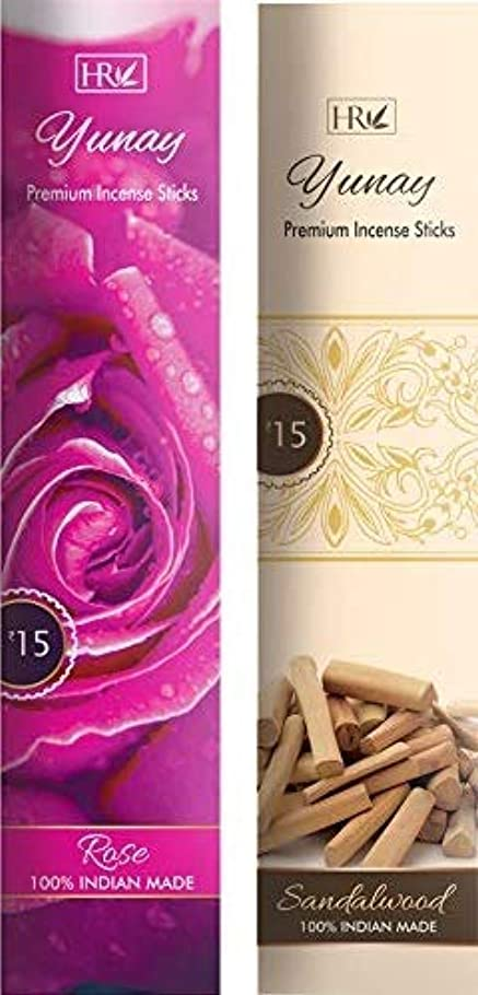 象寛容型Yunay Agarbatti Combo Pack of Rose and Sandalwood (8+8=16 Packets)
