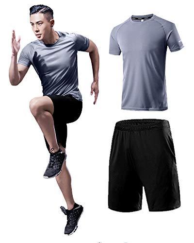 iTRUSTIT メンズ コンプレッションウェア 2点セット メンズ 半袖 ラウンドネック スポーツシャツ ハーフパンツ 半袖 ランニングウェア 吸汗速乾 姿勢矯正 [UVカット・吸汗速乾] ITM04 (L, グレー)