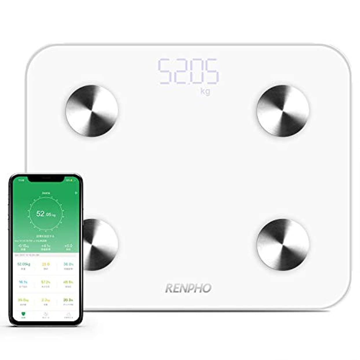 背の高い確認言い聞かせるRENPHO 体重?体組成計 USB充電 体重計 スマホ連動 体脂肪計 体重/体脂肪率/皮下脂肪/内臓脂肪/筋肉量/骨量/体水分率/基礎代謝量/BMIなど測定可能 Bluetooth 体組成計 iOS/Androidアプリで健康管理 ヘルスケア同期 スマートスケール (日本語対応APP&取扱説明書)