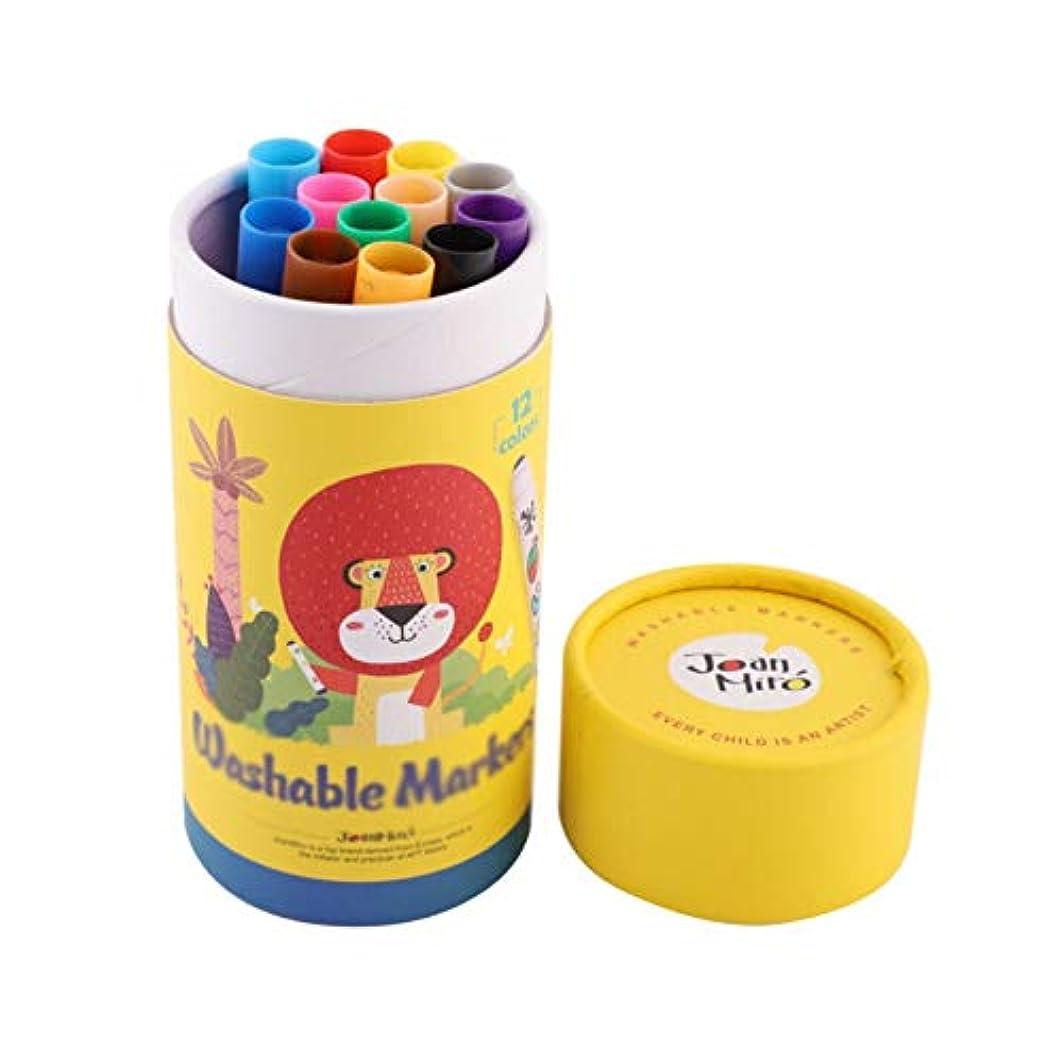 資産復活するのヒープGaoxingbianlidian001 ペイントブラシ、12色、ペイント/グラフィティなどに適した3種類のブラシは、ペイントアート、洗える丸ペンペイントツール(クレヨン、先のとがった、丸い頭、12色)に使用できます 簡単で簡単 (Color : 12 colors, Size : Round head)