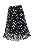 maweisong Women's Fashion Summer Chiffon Skirt Elastic Waist Boho Midi Skirt Black L