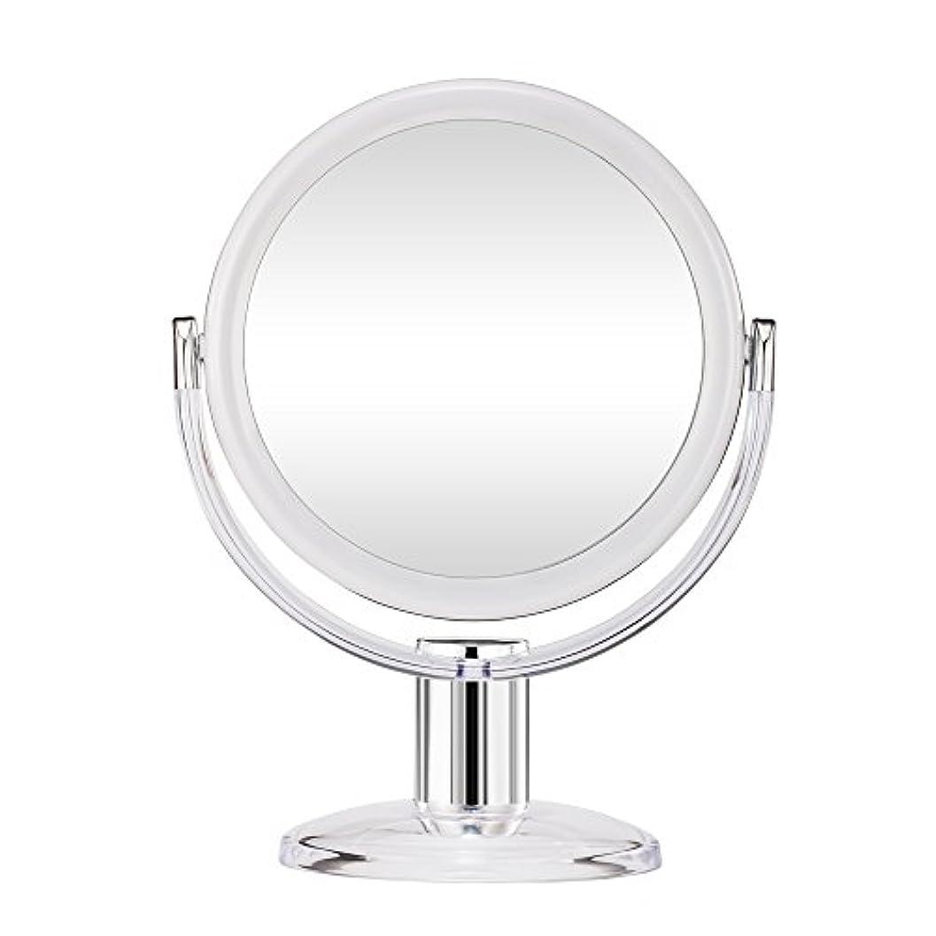 ペルセウス傾向社説Gotofine スタンドミラー 卓上鏡 両面鏡 10倍と等倍 透明 アクリル樹脂 おしゃれ 円型