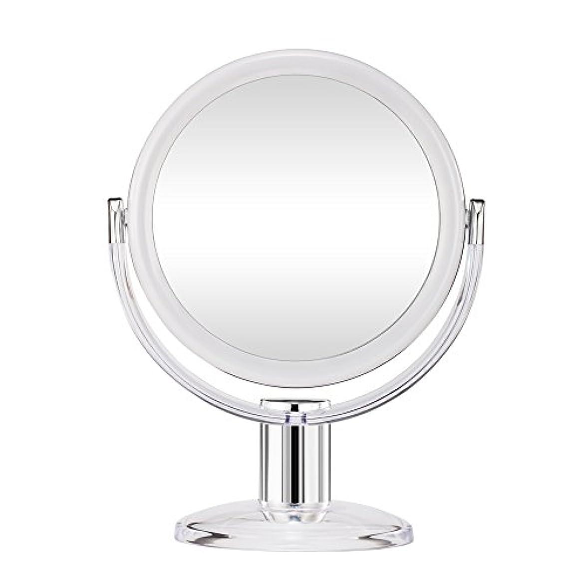 治療横にアストロラーベGotofine スタンドミラー 卓上鏡 両面鏡 10倍と等倍 透明 アクリル樹脂 おしゃれ 円型