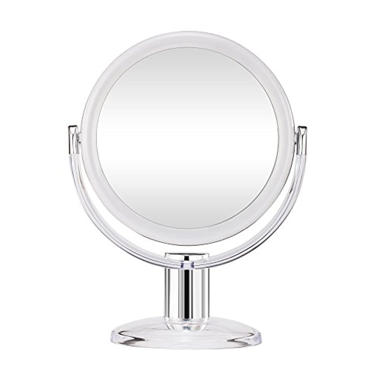 見えない読書をする検体Gotofine スタンドミラー 卓上鏡 両面鏡 10倍と等倍 透明 アクリル樹脂 おしゃれ 円型