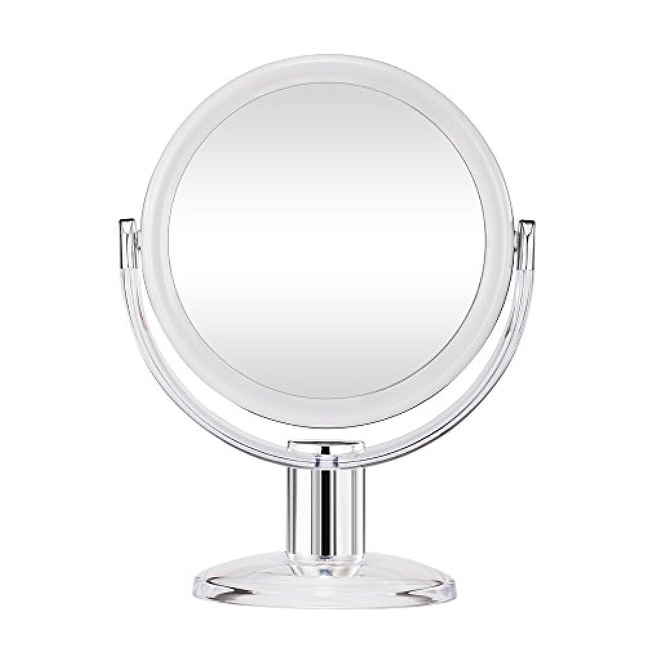 プレミアスペードオープナーGotofine スタンドミラー 卓上鏡 両面鏡 10倍と等倍 透明 アクリル樹脂 おしゃれ 円型