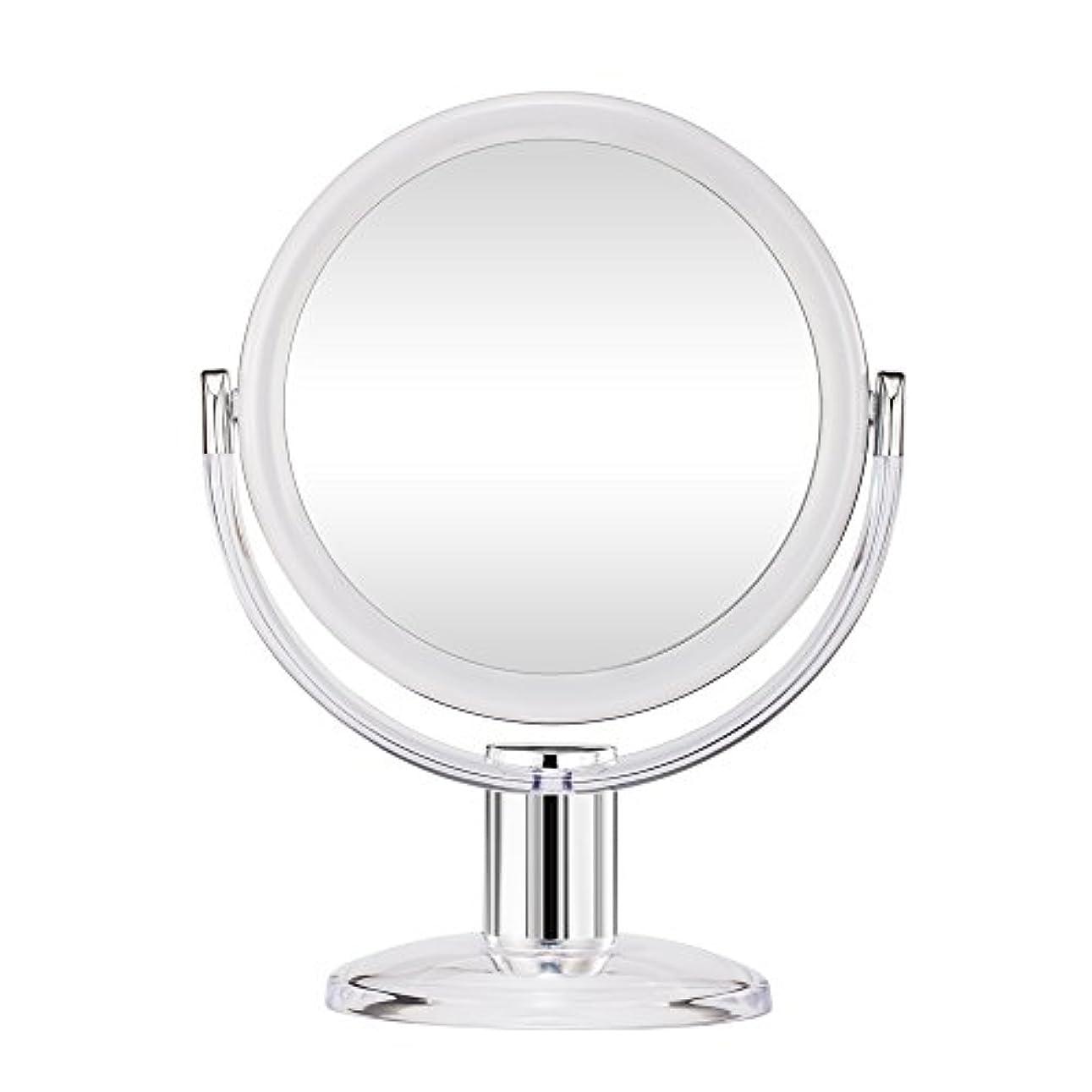 うねる論理的説明するGotofine スタンドミラー 卓上鏡 両面鏡 10倍と等倍 透明 アクリル樹脂 おしゃれ 円型