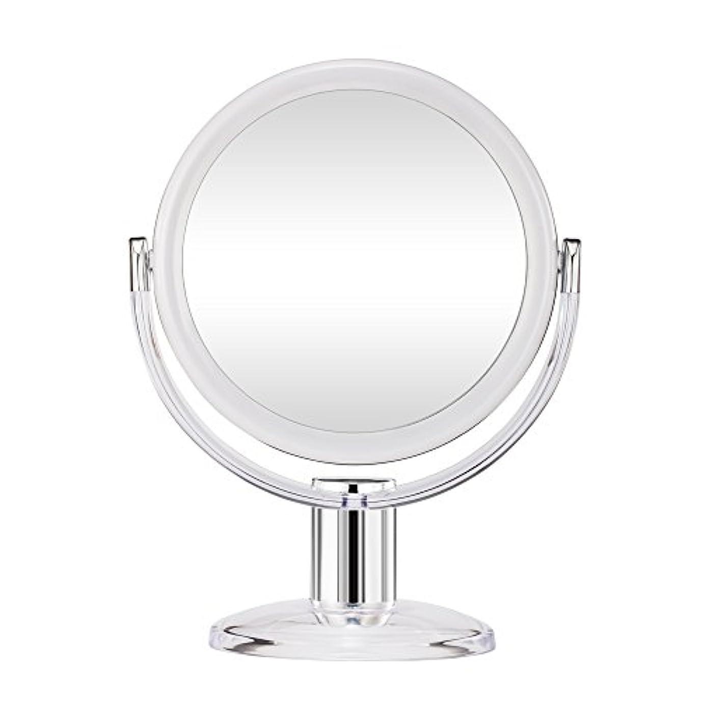 事実上エリートわずかにGotofine スタンドミラー 卓上鏡 両面鏡 10倍と等倍 透明 アクリル樹脂 おしゃれ 円型
