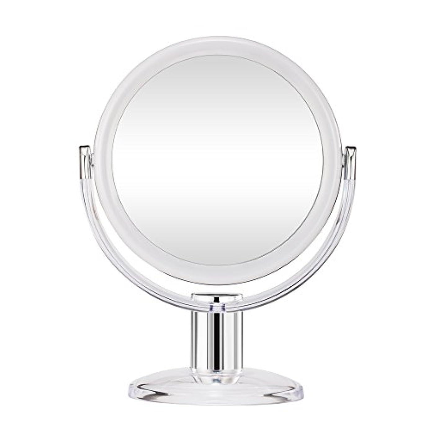 暗唱する荒野のぞき穴Gotofine スタンドミラー 卓上鏡 両面鏡 10倍と等倍 透明 アクリル樹脂 おしゃれ 円型