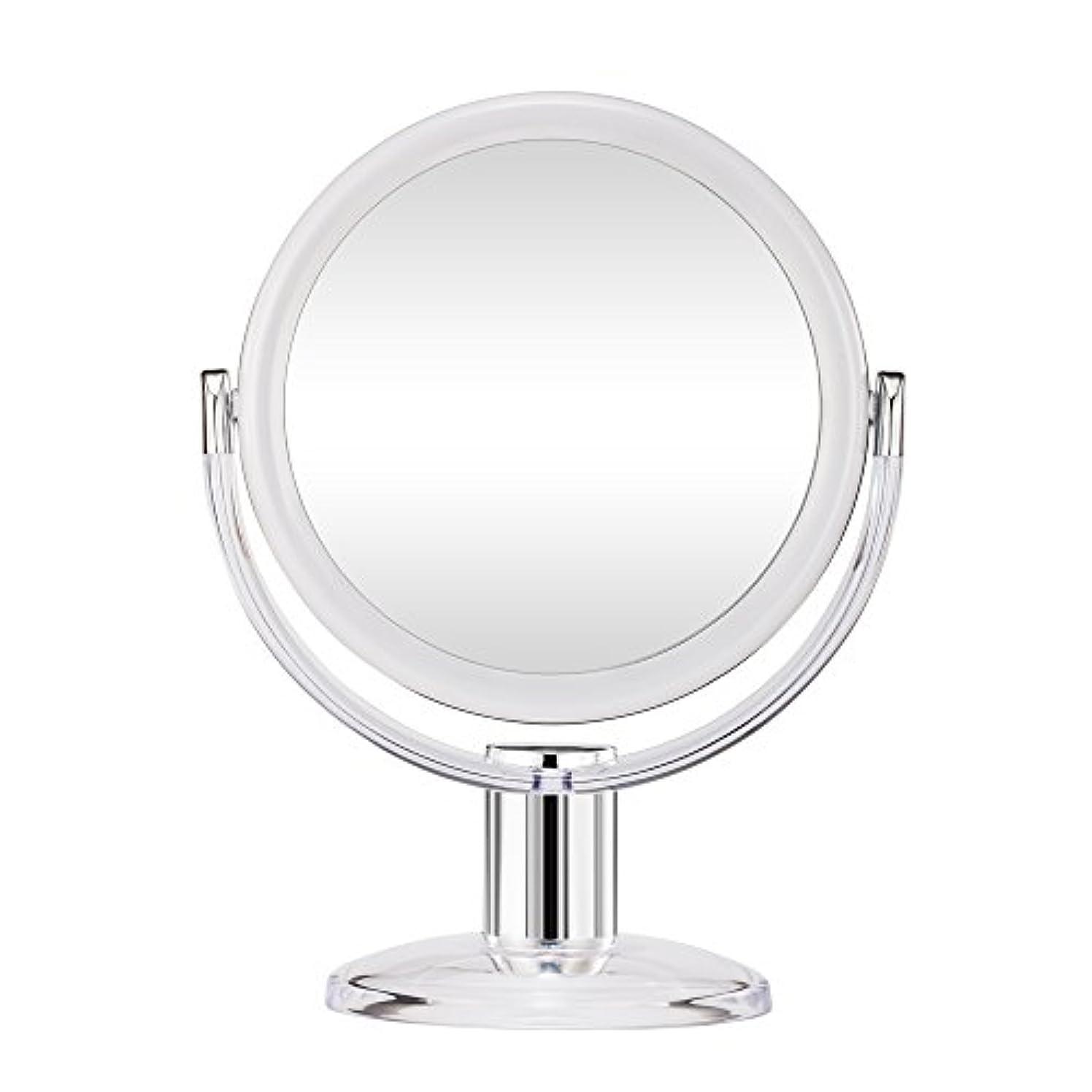 バッフル小学生内訳Gotofine スタンドミラー 卓上鏡 両面鏡 10倍と等倍 透明 アクリル樹脂 おしゃれ 円型