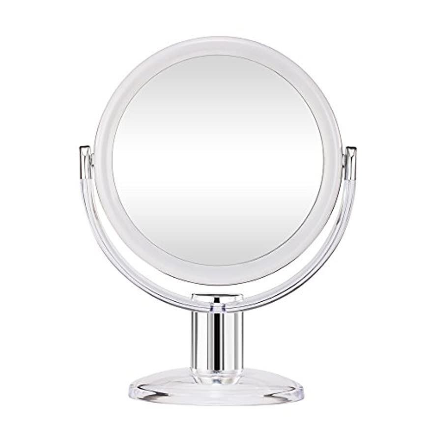 自分の首尾一貫した長椅子Gotofine スタンドミラー 卓上鏡 両面鏡 10倍と等倍 透明 アクリル樹脂 おしゃれ 円型