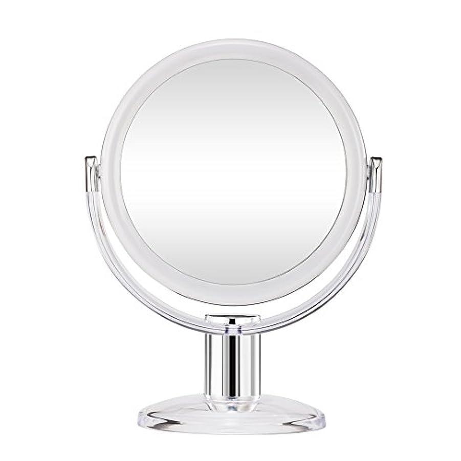 柔らかさ外交浸食Gotofine スタンドミラー 卓上鏡 両面鏡 10倍と等倍 透明 アクリル樹脂 おしゃれ 円型