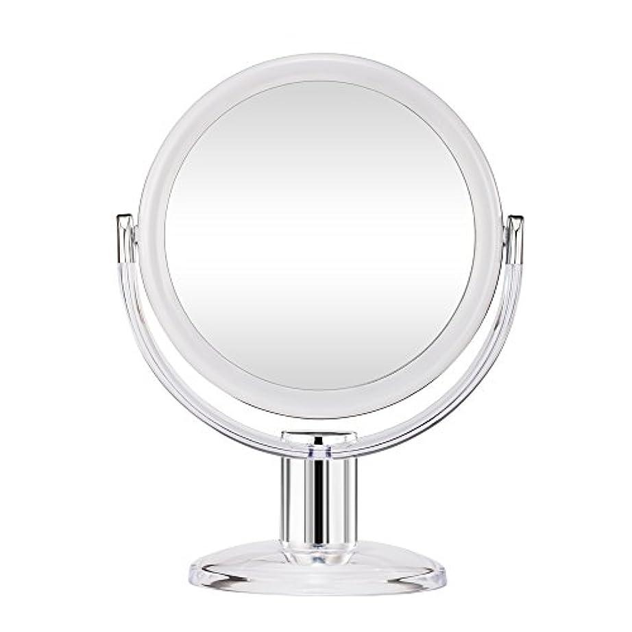 ベリー訪問サーバGotofine スタンドミラー 卓上鏡 両面鏡 10倍と等倍 透明 アクリル樹脂 おしゃれ 円型