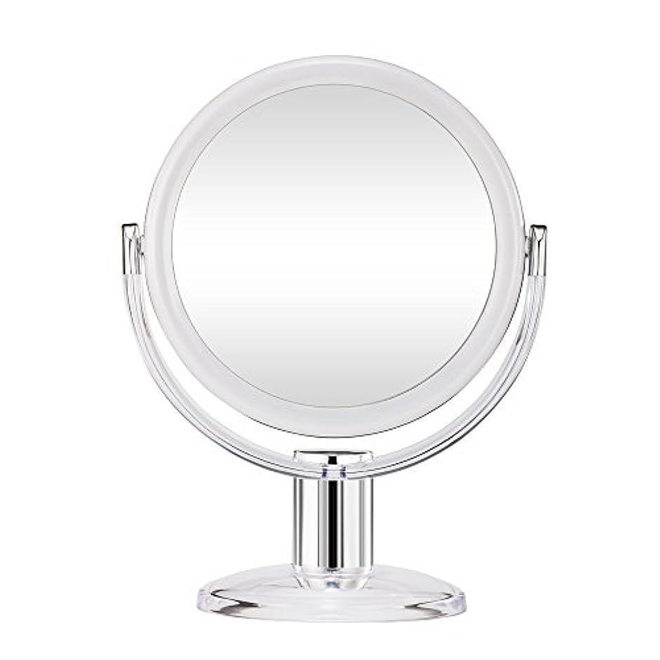 いくつかの金額どこでもGotofine スタンドミラー 卓上鏡 両面鏡 10倍と等倍 透明 アクリル樹脂 おしゃれ 円型