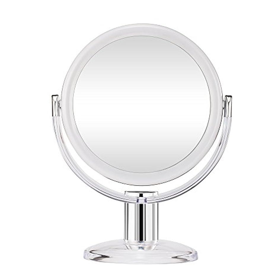 塊出席するロゴGotofine スタンドミラー 卓上鏡 両面鏡 10倍と等倍 透明 アクリル樹脂 おしゃれ 円型