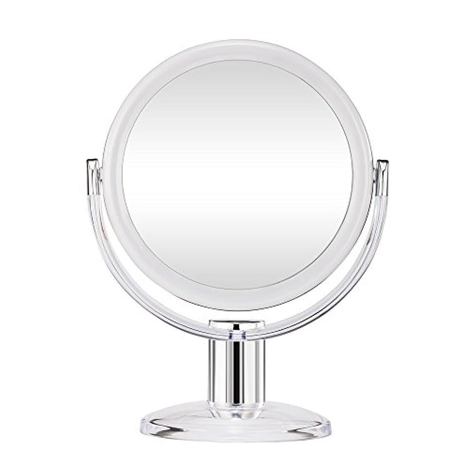 朝食を食べる呼吸する劇的Gotofine スタンドミラー 卓上鏡 両面鏡 10倍と等倍 透明 アクリル樹脂 おしゃれ 円型