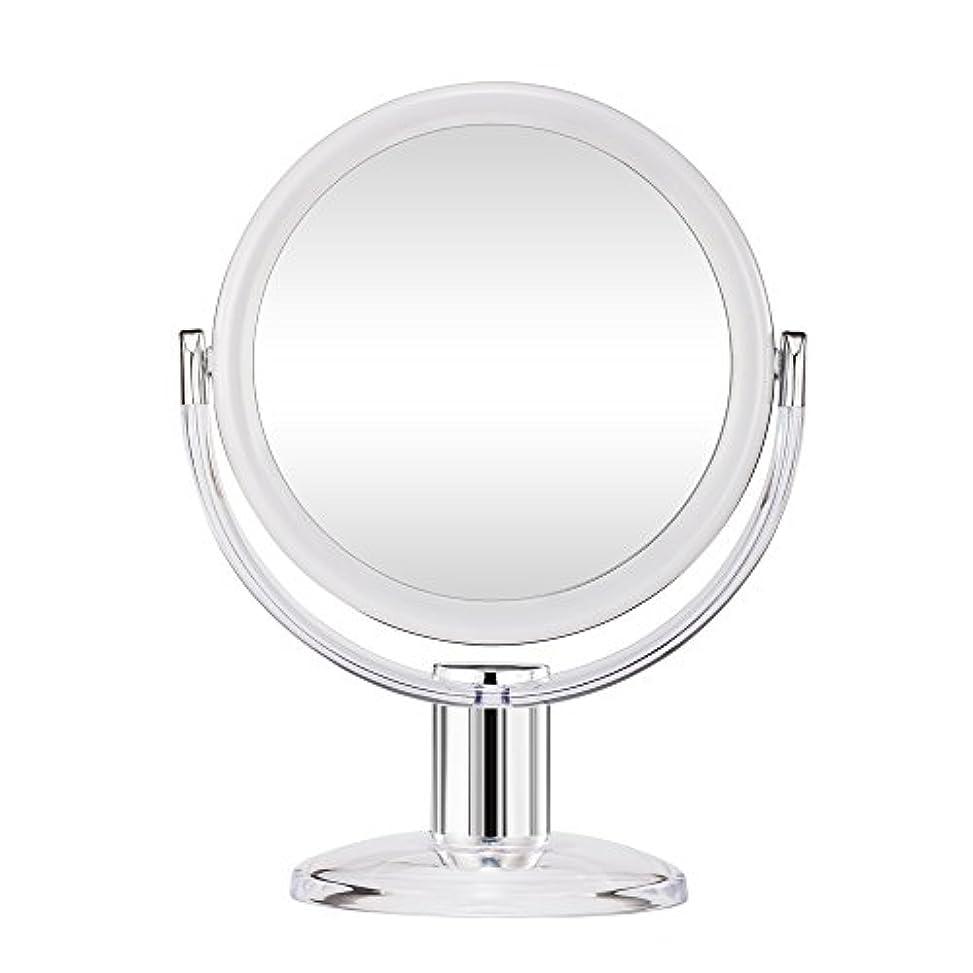 洞察力のある反発馬鹿げたGotofine スタンドミラー 卓上鏡 両面鏡 10倍と等倍 透明 アクリル樹脂 おしゃれ 円型