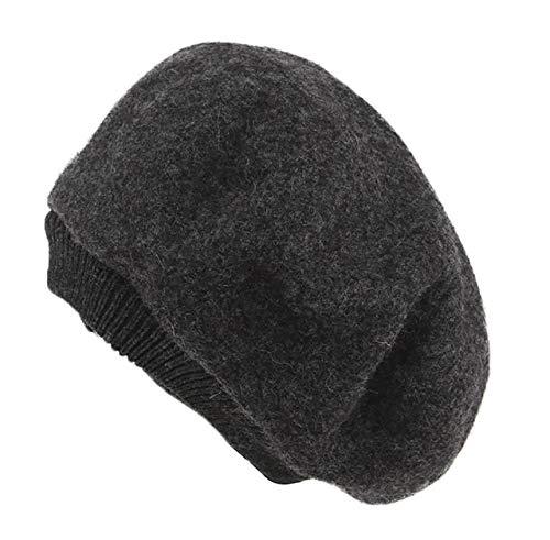 Una brezza (ウナブレッザ)ベレー帽 レディース ウール フェルト ベレー 無地 秋 冬 メンズ (濃いグレー)