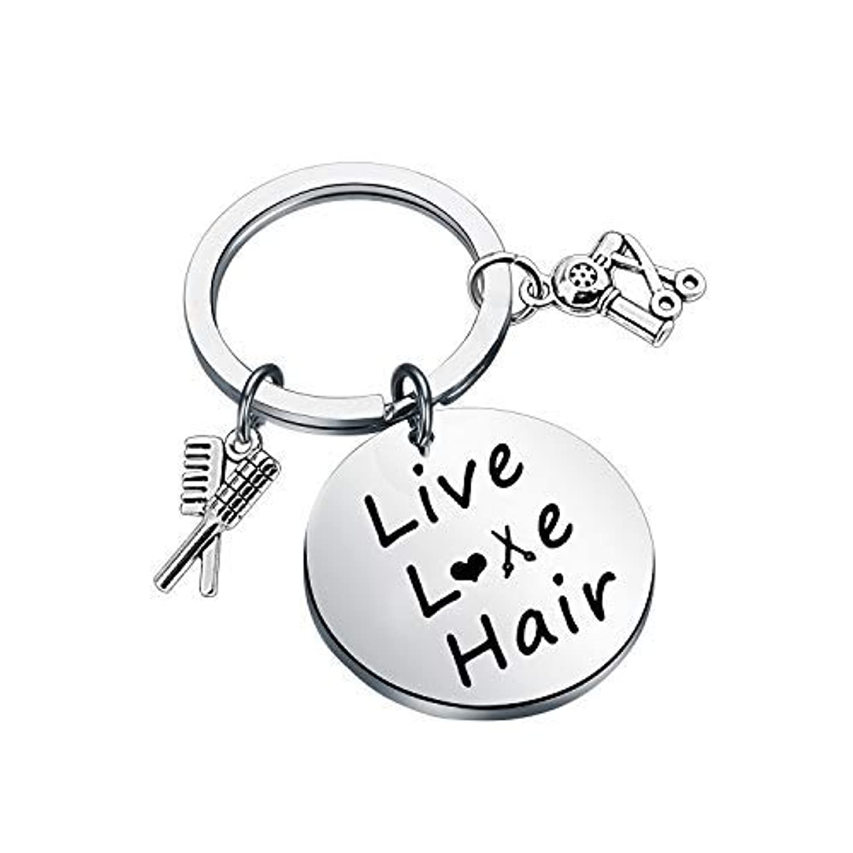 旅行透けるボリュームFUSTMW Hair Stylist Gift Hairdresser Keychain Stylist Scissor Comb Charm Pendant Hair Cutter Barber Gift [並行輸入品]