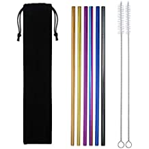 EKIND Set of 6 Reusable Stainless Steel Straws, Metal Drinking Straws, 6 Colors, Fits for Yeti and 20 or 30 oz Tumbler, Cleaning Brush Included (Straight)