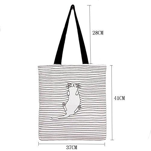 (ニューゾン) Newzone トートバッグ 肩掛けバッグ エコバッグ 可愛い猫 内ポケット ファスナー付き ファッション雑貨 A4収納可 キャンバス