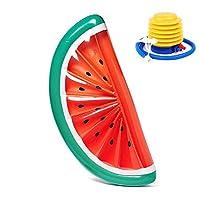 浮き輪 大きい大人用 フロートマット 水泳用品 足踏み式ポンプ付き (スイカ)