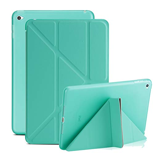 New iPad 9.7 inch 2018 Case, AICOO 3D Origami Stand Ultra Slim Flip PU Leather Smart Case [with Sleep/Wake Function] Soft TPU Back Protective Cover Case for Apple iPad 9.7 2018,Mint