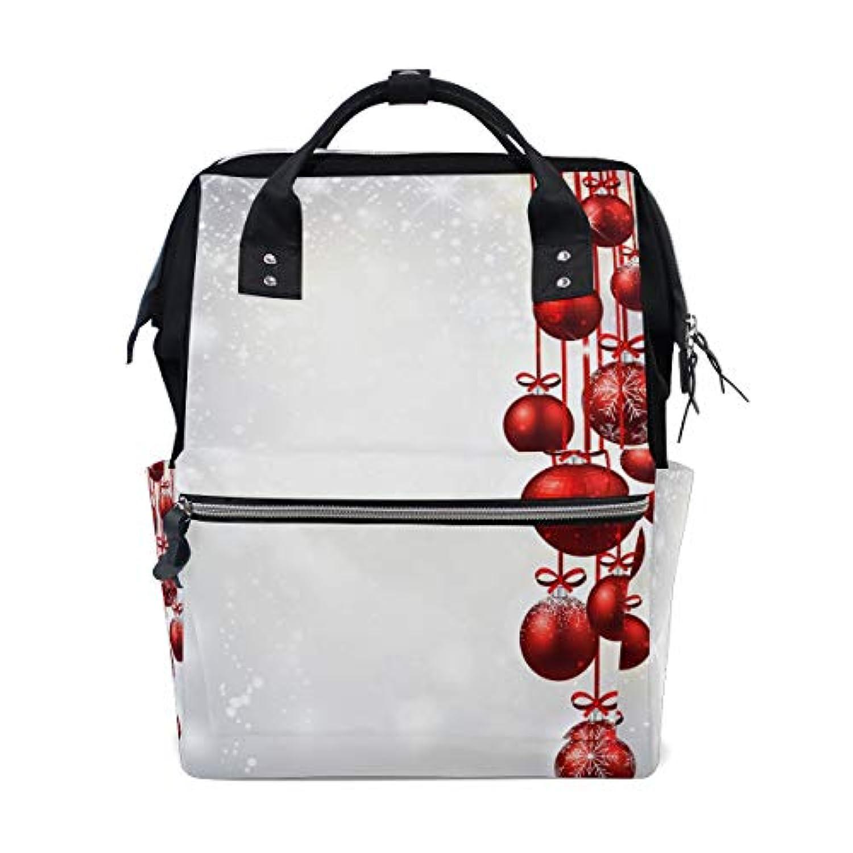 ママバッグ マザーズバッグ リュックサック ハンドバッグ 旅行用 クリスマス 紅のベル柄 冬の雪 ファション