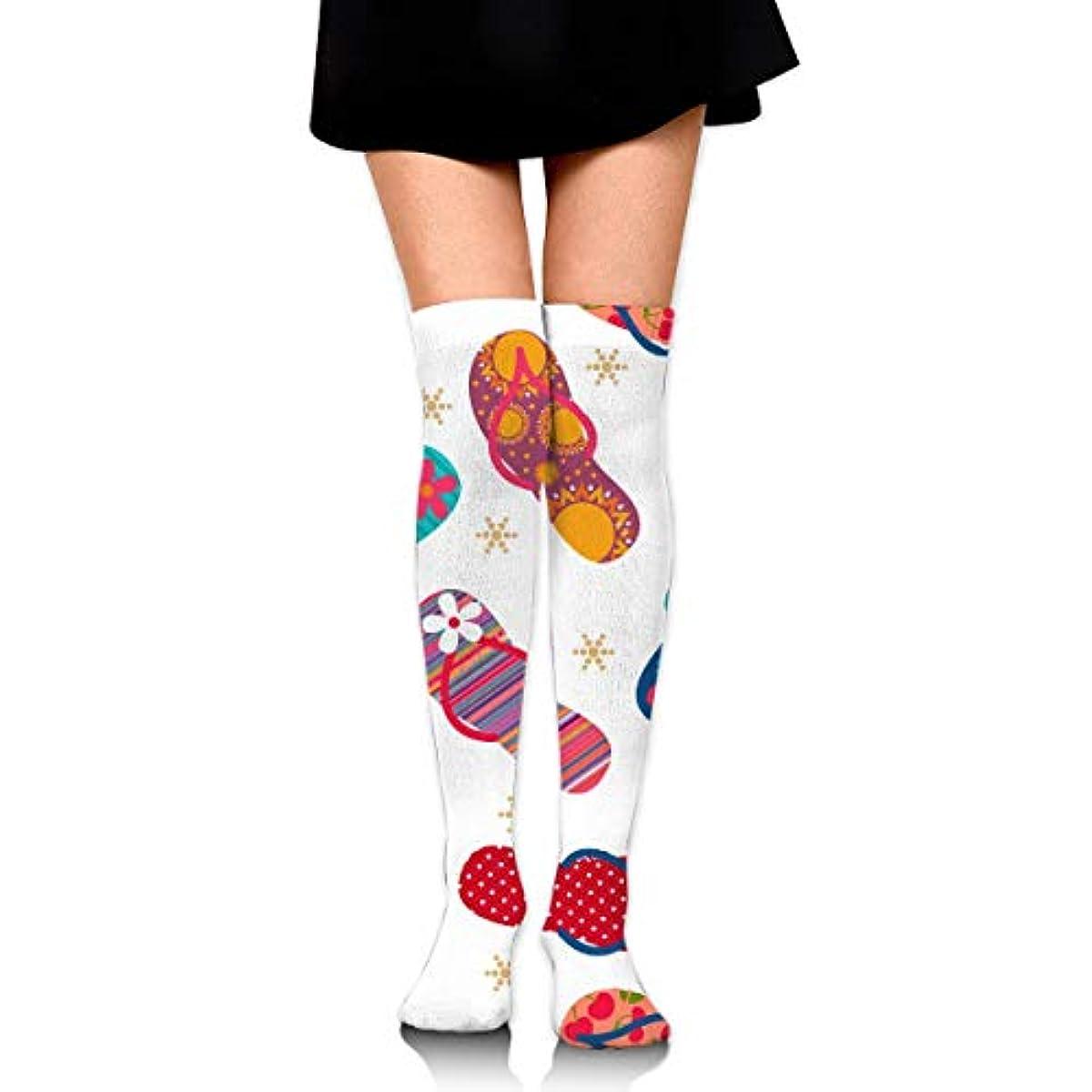 悪化する道署名MKLOS 通気性 圧縮ソックス Breathable Extra Long Cotton Thigh High Cool Flip Flops Slippers Socks Over Exotic Psychedelic...
