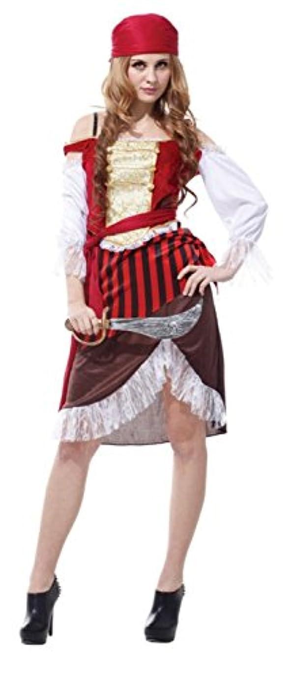 もし悲しい姓女 海賊 パイレーツ コスチューム 衣装セット 大人 レディース ワンサイズ (バンダナ、チューリップスカート)